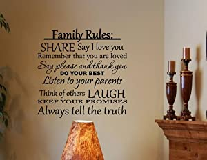 Family Rules: Share, say I love you, do your best... Vinyl wall decals quotes... from Vinylsay
