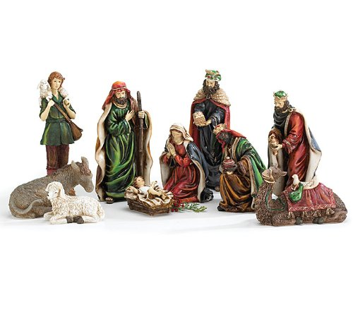 Black Friday 10 Piece Hand Painted Nativity Figurine Set Jesus In Manger Beautiful Christmas