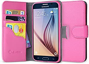 Galaxy S6 Case, [Wallet Case] i-Blason **KickStand** Samsung Galaxy S6 Case [Kickstand] Leather Cover with Credit Card ID Holders (Pink)