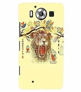 PrintVisa Animal Bear Art 3D Hard Polycarbonate Designer Back Case Cover for Nokia Lumia 950