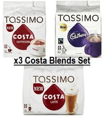 Purchase TASSIMO Costa Cappuccino + Cadbury + Costa Latte x3 Packs, Total 48 T Discs Capsules from TASSIMO