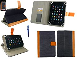 Emartbuy® Wishtel Ira Thing Tablet 7 Inch Universal Range Denim with Tan Trim Multi Angle Executive Folio Wallet Case Cover With Card Slots + Black Stylus