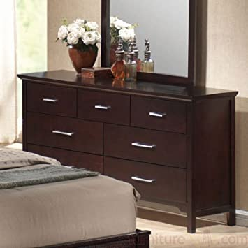 Dresser with Silver Handle Knobs in Mahogany Finish