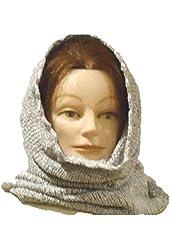 Hand Knitted Light Grey Rayon Chenille Heavy Balaclava Neck Warmer Scarf