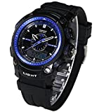 OUANGANC 50m Water-proof Digital-analog Sport Digital Watch with Alarm Stopwatch Chronograph Blue