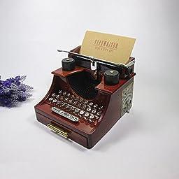 YONG Creative typewriter vintage music box with drawer