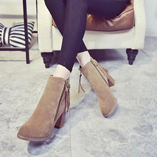 Febelle Fashionable Women Scrub Bigh-heeled Boots High Heel boots Women Hot Vintage Khaki & 38 4