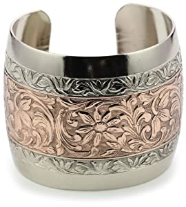 1928 Jewelry Prominence Silver-Tone and Copper Cuff Bracelet