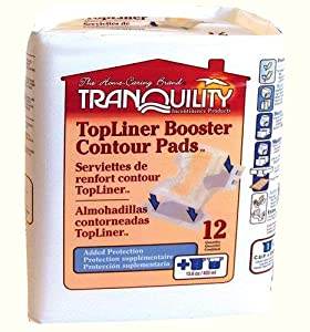 Tranquility TopLiner Booster Contour Pads, Large Diaper Inserts Case/60 (5 bags of 12) by Principle Business Enterprises