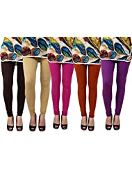 Anekaant Cotton Lycra Women's Legging Pack Of 5