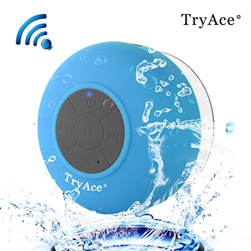 TryAce®Wireless Bluetooth Waterproof Shower Speaker Bluetooth 3.0 Car Handsfree Speakerphone built in Mic Control Buttons and Dedicated Suction Cup for Showers, Bathroom, Pool, Boat, Car, Beach, & Outdoor Use(Blue)