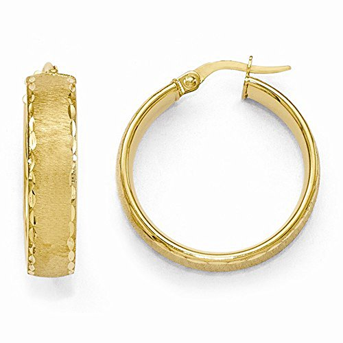 Leslie'S 14K Yellow Gold High Polish Diamond Cut Brushed Finish Hoop Earrings