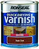 Ronseal QDVGDO250 250ml Quick Dry Varnish Coloured Gloss - Dark Oak