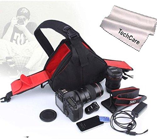 Techcare Tm ''Ultra Light'' Dslr Camera Black Case Travel Shoulder Bag For Canon Eos 70D, 60D, 6D, T3I, T4I, T5I, 7D, 5D Mk Series, Nikon D610, D600, D7000, D7100, D5200, D3200, D800, D300S