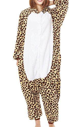Qeely Adult Pajamas Kigurumi Cosplay Costume Leopard Print Onesie Sleepwear Nonopnd Unisex Brown M