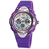 Pasnew High Water-Proof Quality 100m Dual Time Unisex Enfant Outdoor Sport Watch Violet