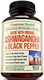 Ashwagandha with Black Pepper 1300mg - made with Organic Root Powder Extract. Anxiety & Stress Relief, Adrenal & Thyroid Support, Brain & Immune Health and Energy Boost. Natural Certified Supplements.
