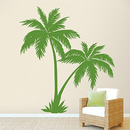 Wall Decal Vinyl Sticker Decals Art Decor Design Couple Palm Branch Tree Flower Sun Summer Hawaii Surf Dorm Bedroom Mural Modern (R617) front-744599