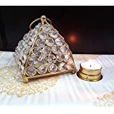 TiedRibbons Crystal T Light Candles Holder (4.8 Inch X 4.1 Inch,Golden,Brass) With T-light Candle