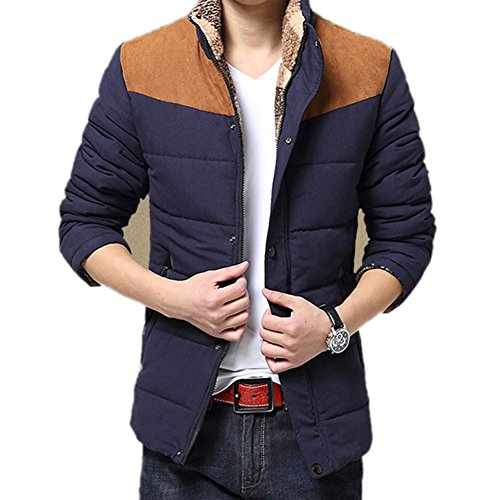 Highdas Casual Warme Winter Mantel Herren Baumwollmantel Stehkragen Thermal Herren Daunenmantel Patchwork Winter Jacke Blau 2XL