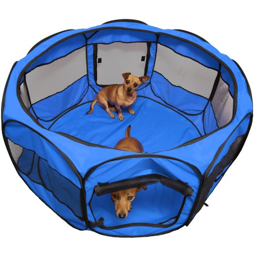 OxGord-8-Panel-Pop-Up-Tent-with-Carry-Bag-Portable-PlayPen-for-Pets-48-by-48-by-25-Blue