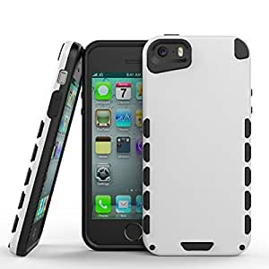 iPhone 5S Case (Cubix) Armor Robot Cover [Anti Scratch] Slim-Fit Two Layer Defender Bumper Back cover For Apple iPhone 5S (White)