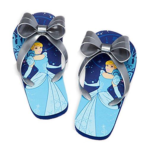 "Disney Store - Girls - Cinderella ""Silver Age"" Flip Flops - Blue 7/8 Us"