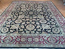 12 x 15 HAND KNOTTED BLACK AGRA ORIENTAL RUG G573