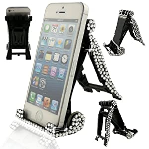 Ancerson Shining Crystal Diamond Universal Portable Mini Desk Stand Holder Dock Multi-function Bracket for Smartphones Mobile Phones Tablet PC E-reader Ipod Touch 2 3 4 5, Iphone 3 3g 3s 4 4s 5 5c 5s,Samsung Galaxy S4/ S4 Mini/ S5/ S3/ S2/ Grand 2/ Note 2 N7100/ Note 3 N9000/ Mega 6.3 I9200/ Mega 5.8 I9152, Galaxy I8262d/ I9268, HTC G18 Sensation Xe, Galaxy Ace2, Lg Nexus 4 5, Lg G2/ G2 mini LTE/ G Pro 2/ LG F70/ LG Optimus G Pro E980 F240 E986 F240k, HTC X920e (Butterfly), Nokia Lumia 920 928 520 720 1020 1520, Sony Xperia L36h/ L39h/ XL39h/ Z1 S/ M2/ Z2/ E1, Moto G, Blackberry Z10/ Z30, HTC One M7/ Mini/ X/ Max/ M8, Huawei Ascend P6/ G6 Etc and Ipad 1 2 3 4 5 Air Mini; Acer Iconia Tab B1-710, B1-a71, A1-810; Asus Me301t, Transformer Book T100ta, Me172v, Me173x, Vivo tab, Memo Pad FHD 10 Me302c, Rt Tab; Blackberry Playbook, Motorola Xoom 10.1, Xoom 2, Samsung Galaxy Tab 2/ 3, Galaxy Note 8.0/ Note 10.1; Dell Venue 8 Pro,venue 7; Lenovo Ideatab S6000/ A3000/ A1000/ S5000, Miix 10/ 2, Google Nexus 7 10, Kindle Fire Hd, Kindle Fire HDX Etc (Black)