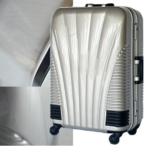 ストッパー付スーツケース 小型TSAロック搭載 フレームタイプ 旅行カバン 鳳凰 SSサイズ (Brushシルバー)