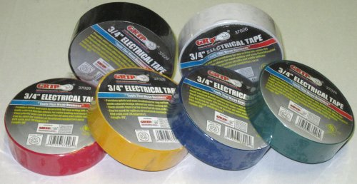 Grip 37026 Assorted Color Electrical Tape (Pack Of 6)