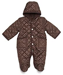 Leveret Quilted Baby Snowsuit (6 Months, Brown)
