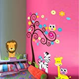 MZY LLC (TM) Owl Zebra Lion Tree Wall Stickers Home Decals Decor Mural Decorative Nursery Super For Girls and Boys Children's Bedroom