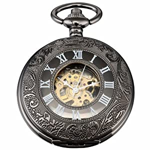 AMPM24 Vintage Hollow Skeleton Case Mechanical Pocket Watch