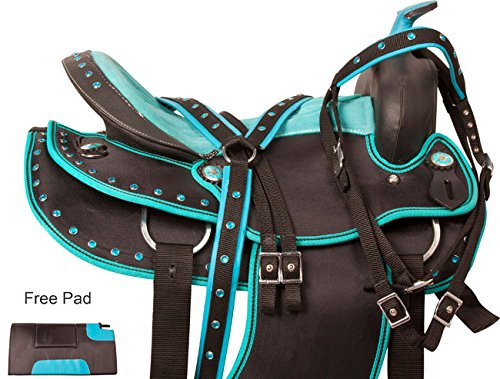 beautiful-western-pleasure-trail-barrel-racing-show-horse-saddle-free-tack-set-pad-silver-crystals-1