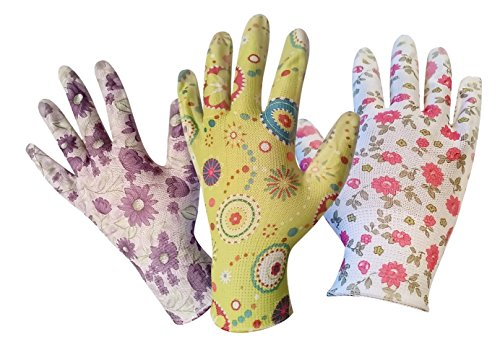 Gardening Gloves for Women - 3 Pack - Breathable Nylon With Nitrile Coated Palms - Great for Light Gardening - Easy to Clean - One Size Fits Most - Unique Garden Gloves Pack That Comes With 3 Stylish Designs Image