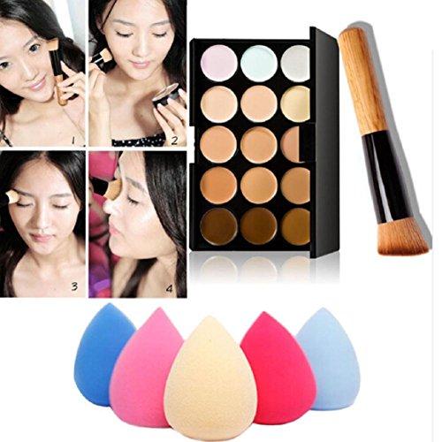 Malloom 15 couleurs de maquillage Palette correctrice Contour + Eau Éponge + pinceau de maquillage
