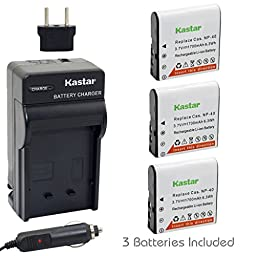 Kastar Battery (3-Pack) and Charger Kit for Casio NP-40, NP-40DBA, NP-40DCA and BC-31L work with Casio Exilim EX-Z400, EX-FC100, EX-FC150, EX-FC160S, Pro EX-P505, EX-P600, EX-P700, Zoom EX-Z100, EX-Z1000, EX-Z1050, EX-Z1080, EX-Z1200, EX-Z200, EX-Z30, EX-