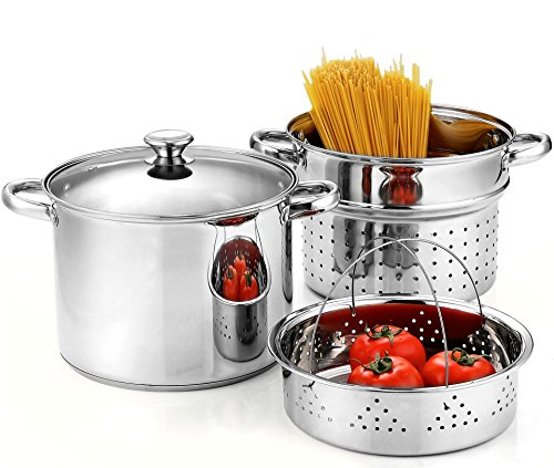 Cook N Home 02401 Stainless Steel 4-Piece Pasta Cooker Steamer Multipots with Encapsulated Bottom, 8-Quart (Pasta Pot Induction compare prices)