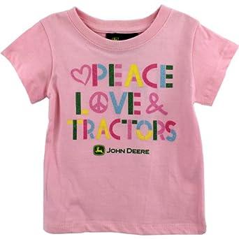 John Deere Peace Love Tractors Pink T