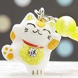 F 黄色が人気!風水招き猫根付ストラップ 幸せの幸運玉付