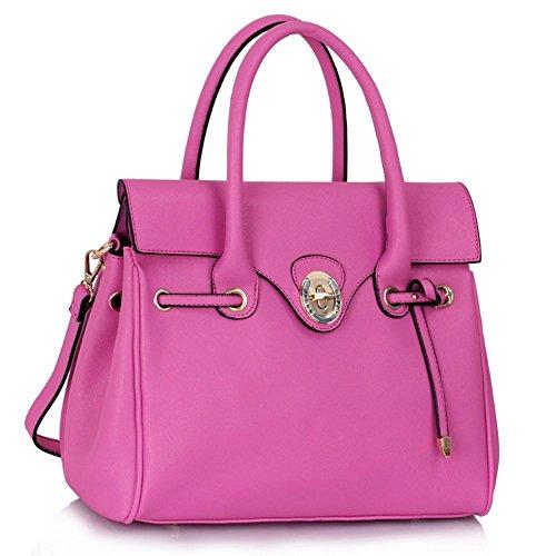 LeahWard taglia larga Donna Fashion ECOPELLE Style Twist Lock Grab Borse a tracolla Borse Donna Bellissima progettista Tote borsetta Messenger CWS00322 CWS00301M CWS00301L (CWS00301L-Fuchsia/ Rosa)