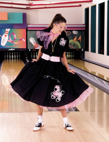 Cruisin USA 19843 Complete Poodle Skirt Outfit Plus Black & Pink Adult Costume Size 2X-3X