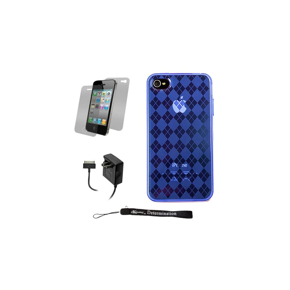 Blue Durable TPU Skin Cover Case with Back Argyle Design for Apple iPhone 4 ( 4th Generation 16GB 32GB   AT&T and Verizon ) + Includes Anti Glare Screen Protector Guard + Includes a Black Home Wall Charger for your iPhone 4