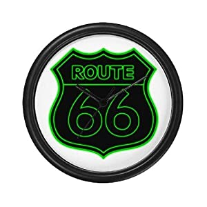 Green Route 66 Neon Wall Clock