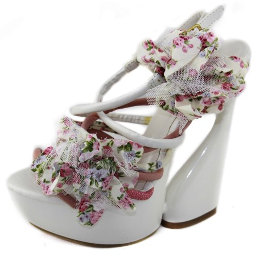 Wild Rose Roma-05 White Leatherette Floral Sandals, Size: 8 M US
