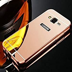 Go Crazzy Luxury Metal Bumper Acrylic Mirror Back Cover Case for Samsung Galaxy J5 -(Rose Gold)