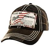 Pride of America USA Flag Distresed Denim Jean Adjustable Baseball Cap Hat Black
