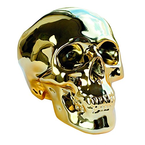 invotis 1641 salvadanaio teschio dorato in ceramica skull money bank