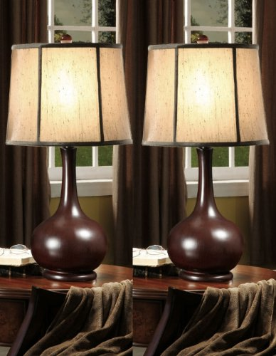 Set of 2 Dark Red & Fabric Shade Table Lamps